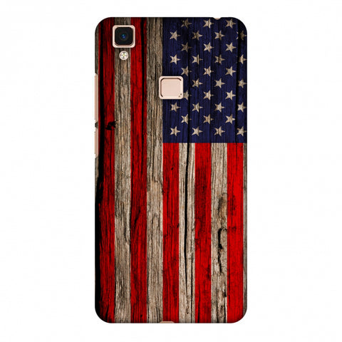 USA Flag - Wooden Texture Slim Hard Shell Case For Vivo V3 Max
