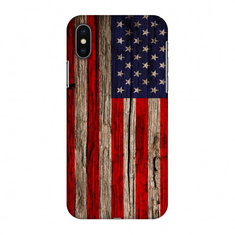 USA Flag - Wooden Texture Slim Hard Shell Case For Apple iPhone X
