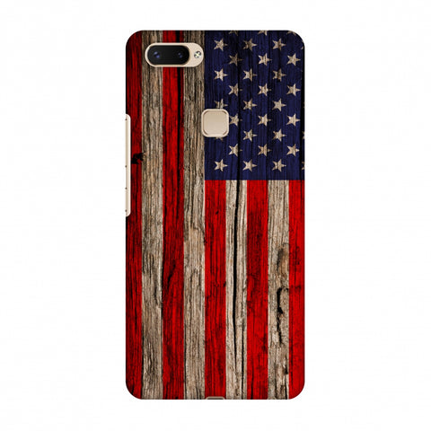 USA Flag - Wooden Texture Slim Hard Shell Case For Vivo X20 Plus
