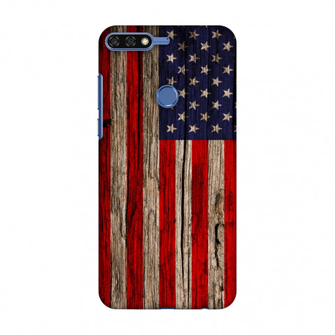 USA Flag - Wooden Texture Slim Hard Shell Case For Huawei Honor 7C