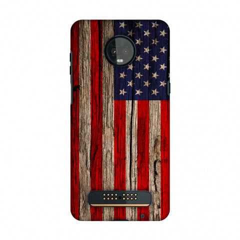 USA Flag - Wooden Texture Slim Hard Shell Case For Motorola Moto Z3 Play