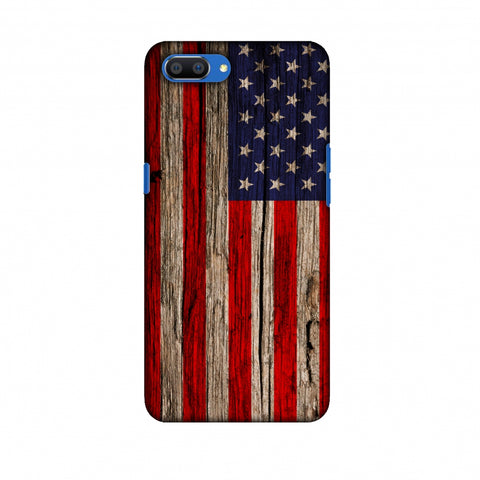 USA Flag - Wooden Texture Slim Hard Shell Case For Oppo Realme C1