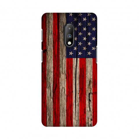 USA Flag - Wooden Texture Slim Hard Shell Case For OnePlus 7