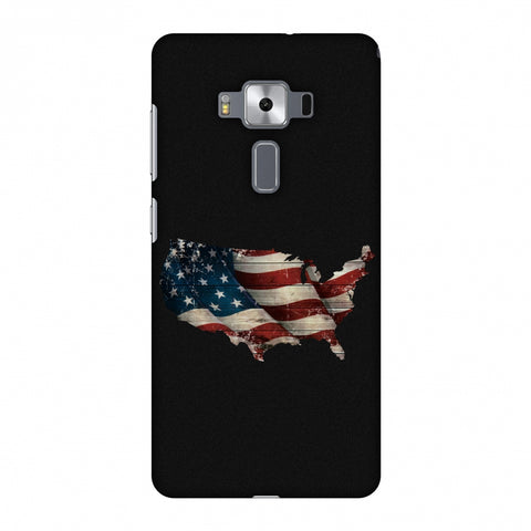 USA Flag Cutout Slim Hard Shell Case For Asus Zenfone 3 Deluxe ZS570KL