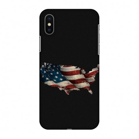 USA Flag Cutout Slim Hard Shell Case For Apple iPhone X