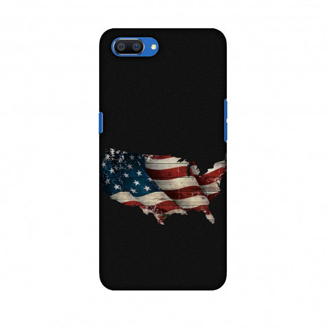 USA Flag Cutout Slim Hard Shell Case For Oppo Realme C1