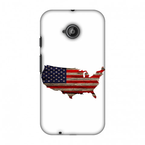 USA Flag Cutout - Wooden Texture Slim Hard Shell Case For Motorola Moto E 2nd Gen