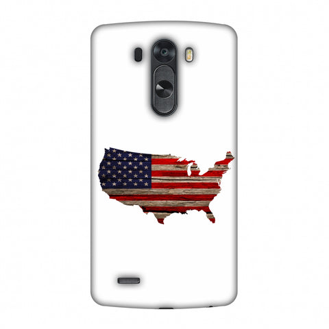 USA Flag Cutout - Wooden Texture Slim Hard Shell Case For LG G4