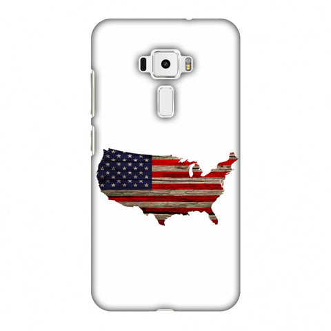 USA Flag Cutout - Wooden Texture Slim Hard Shell Case For Asus Zenfone 3 ZE520KL