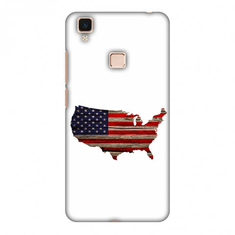 USA Flag Cutout - Wooden Texture Slim Hard Shell Case For Vivo V3 Max