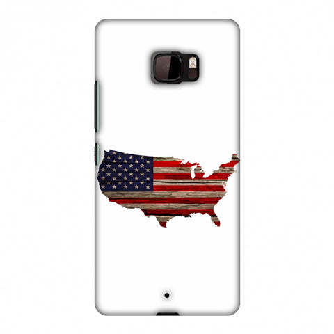 USA Flag Cutout - Wooden Texture Slim Hard Shell Case For HTC U Ultra