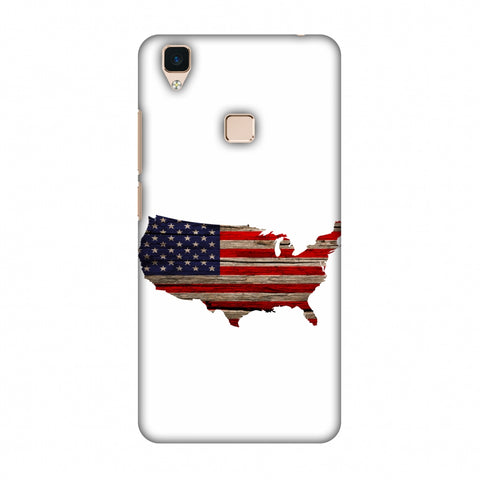 USA Flag Cutout - Wooden Texture Slim Hard Shell Case For Vivo V3