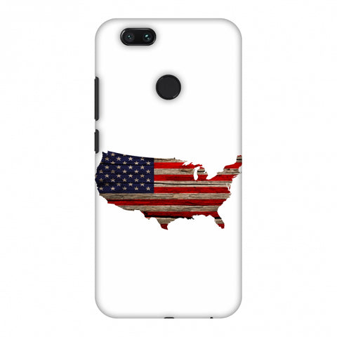 USA Flag Cutout - Wooden Texture Slim Hard Shell Case For Xiaomi MI A1-5X