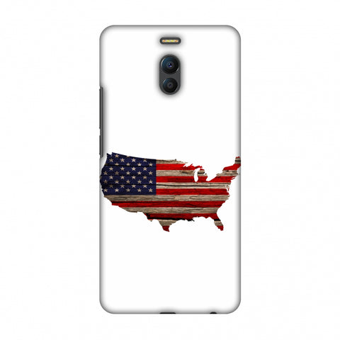 USA Flag Cutout - Wooden Texture Slim Hard Shell Case For Meizu Note 6