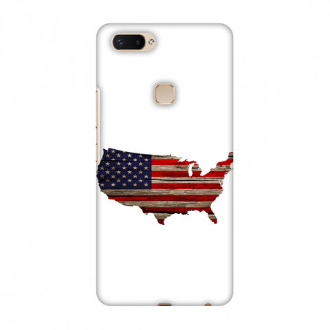 USA Flag Cutout - Wooden Texture Slim Hard Shell Case For Vivo X20 Plus