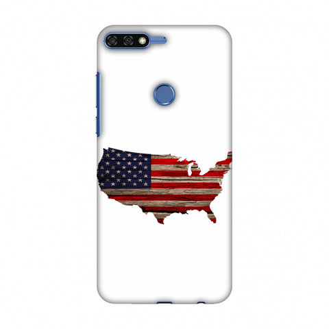 USA Flag Cutout - Wooden Texture Slim Hard Shell Case For Huawei Honor 7C