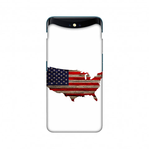 USA Flag Cutout - Wooden Texture Slim Hard Shell Case For Oppo Find X