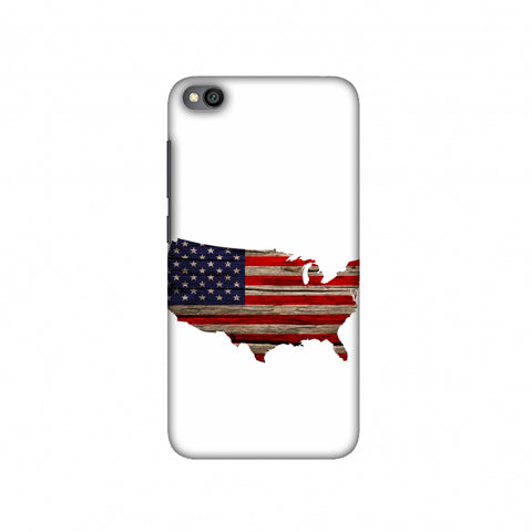 USA Flag Cutout - Wooden Texture Slim Hard Shell Case For Redmi Go