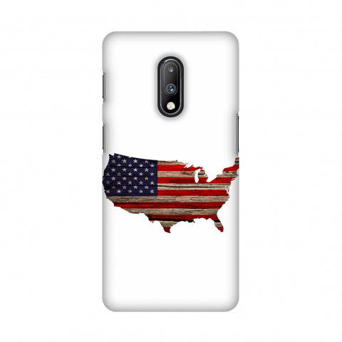 USA Flag Cutout - Wooden Texture Slim Hard Shell Case For OnePlus 7