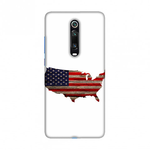 USA Flag Cutout - Wooden Texture Slim Hard Shell Case For Redmi K20/K20 Pro