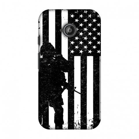 USA Flag - Soldier - Monochrome Slim Hard Shell Case For Motorola Moto E 2nd Gen
