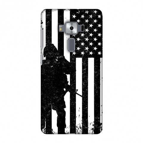 USA Flag - Soldier - Monochrome Slim Hard Shell Case For Asus Zenfone 3 Deluxe ZS570KL