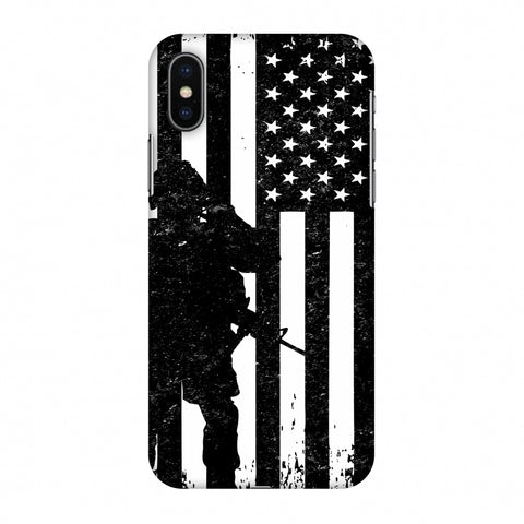 USA Flag - Soldier - Monochrome Slim Hard Shell Case For Apple iPhone X