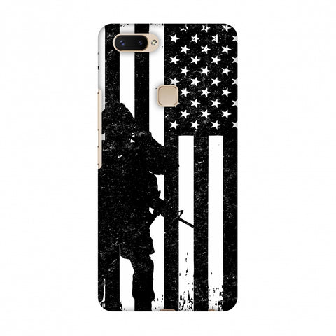 USA Flag - Soldier - Monochrome Slim Hard Shell Case For Vivo X20 Plus