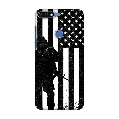 USA Flag - Soldier - Monochrome Slim Hard Shell Case For Huawei Honor 7C