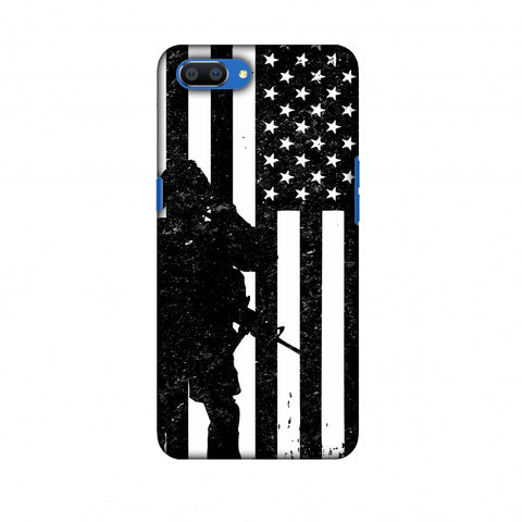 USA Flag - Soldier - Monochrome Slim Hard Shell Case For Oppo Realme C1