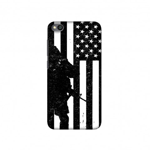 USA Flag - Soldier - Monochrome Slim Hard Shell Case For Redmi Go
