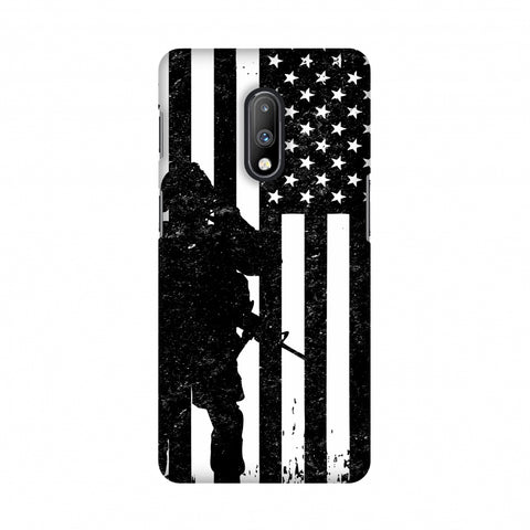 USA Flag - Soldier - Monochrome Slim Hard Shell Case For OnePlus 7