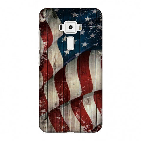 USA Flag - Vintage Wooden Texture Slim Hard Shell Case For Asus Zenfone 3 ZE520KL
