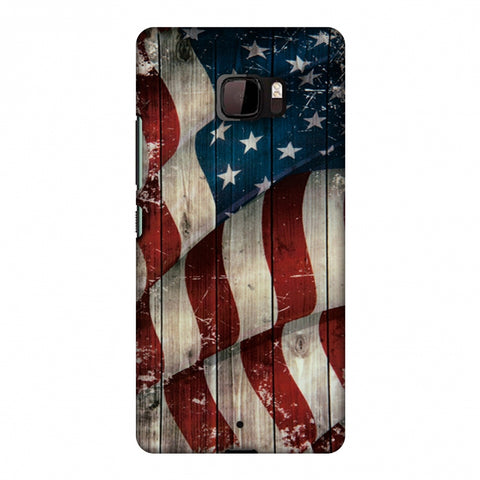 USA Flag - Vintage Wooden Texture Slim Hard Shell Case For HTC U Ultra