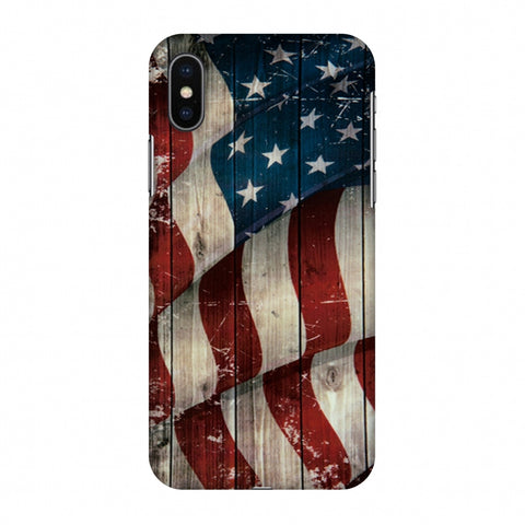 USA Flag - Vintage Wooden Texture Slim Hard Shell Case For Apple iPhone X