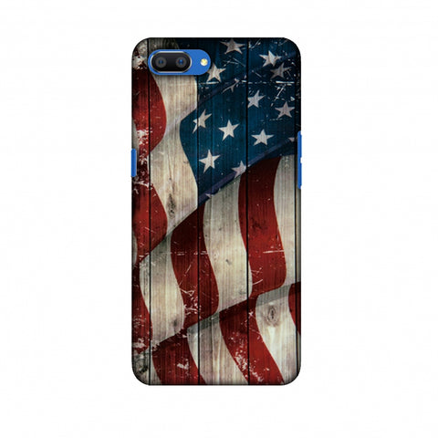 USA Flag - Vintage Wooden Texture Slim Hard Shell Case For Oppo Realme C1