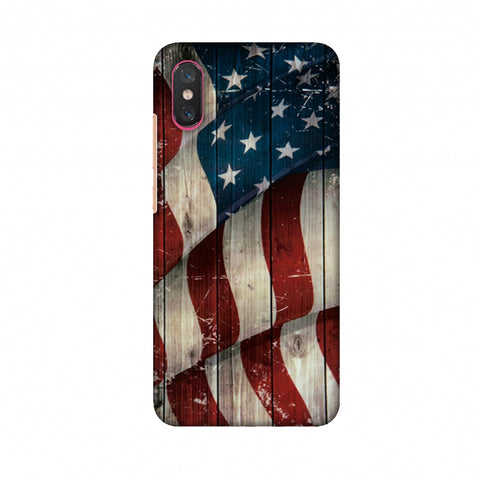 USA Flag - Vintage Wooden Texture Slim Hard Shell Case For Xiaomi Mi 8 Pro