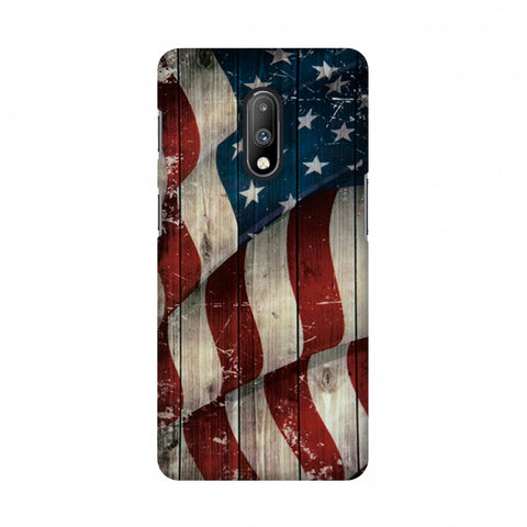 USA Flag - Vintage Wooden Texture Slim Hard Shell Case For OnePlus 7