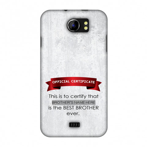 Official Certificate - Brother Slim Hard Shell Case For Micromax Canvas 2 A110