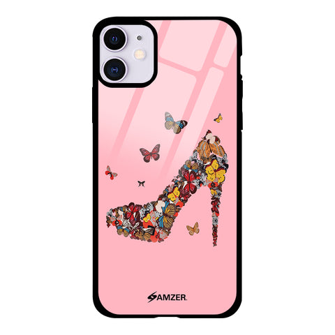 Butterfly High Heels Glass Case Cover For iPhone 11