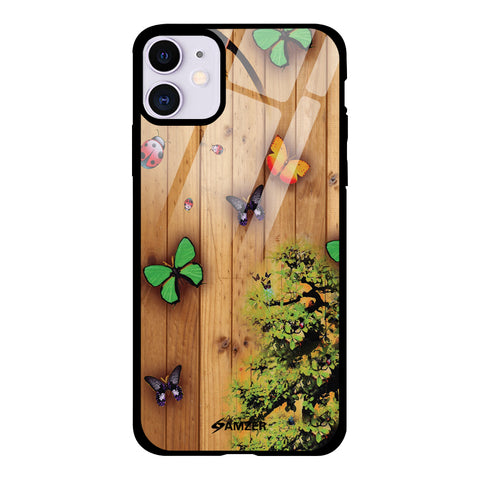 Bonsai Butterfly Glass Case Cover For iPhone 11