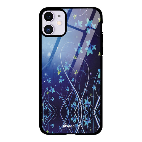 Midnight Lily Glass Case Cover For iPhone 11