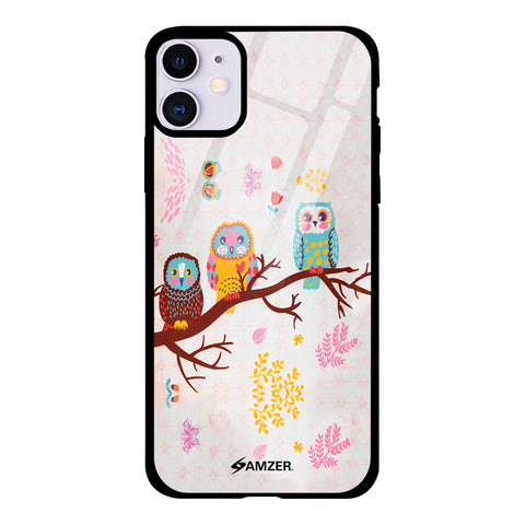 Owls On Branch Glass Case Cover For iPhone 11
