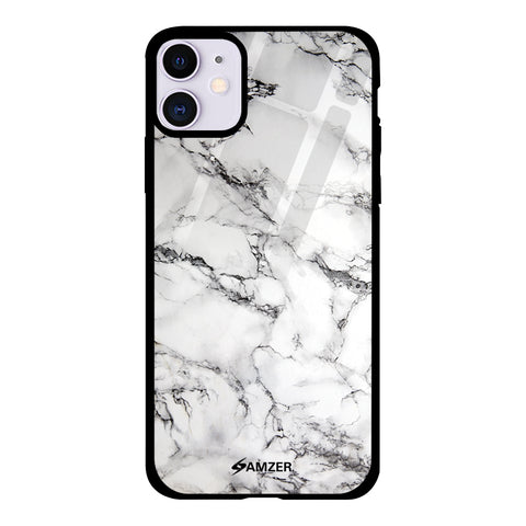 White Marble 2 Glass Case Cover For iPhone 11