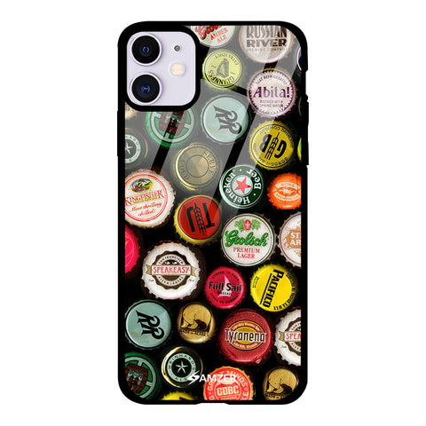Beer Caps Yellow Glass Case Cover For iPhone 11