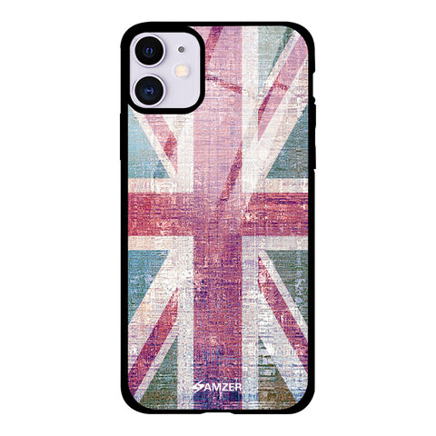 UK flag- Wood texture Glass Case Cover For iPhone 11