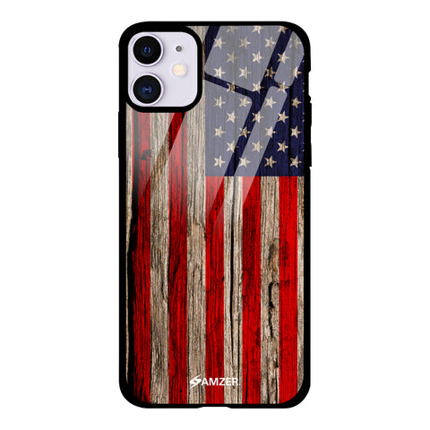 USA Flag - Wooden Texture Glass Case Cover For iPhone 11