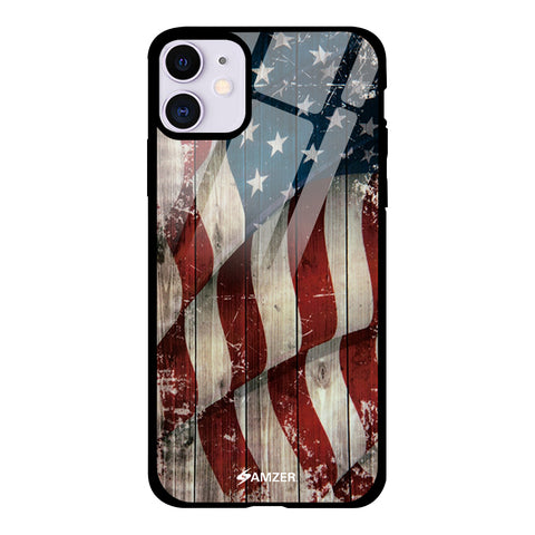 USA Flag - Vintage Wooden Texture Glass Case Cover For iPhone 11