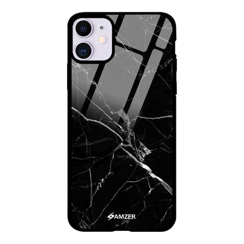 Marble - Black Glass Case Cover For iPhone 11