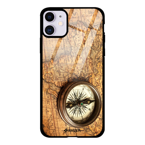Vintage - Pirate Map Glass Case Cover For iPhone 11